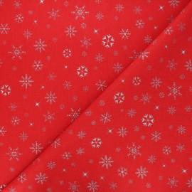 Tissu coton cretonne Givre - rouge/argent x 10cm