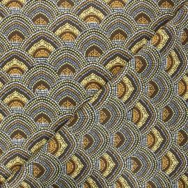 Tissu coton cretonne Menara - jaune moutarde x 10cm
