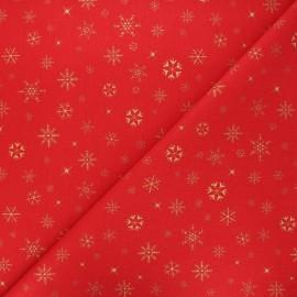 Tissu coton cretonne Givre - rouge/doré x 10cm