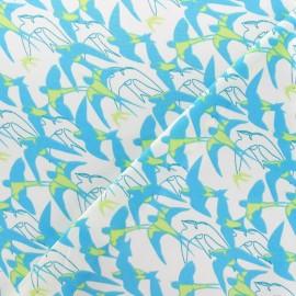 Tissu satin Hirondelles turquoise x 10cm