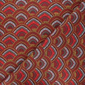 Tissu coton cretonne Menara - rouge x 10cm