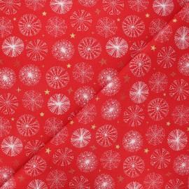 Tissu coton cretonne Étincelle - rouge x 10cm