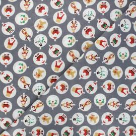 Tissu coton cretonne Mannele - gris x 10cm