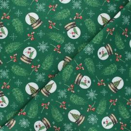 Tissu coton cretonne Snowglobe - vert x 10cm