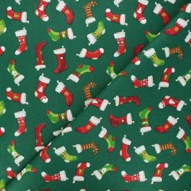 Tissu coton cretonne Socks - vert x 10cm