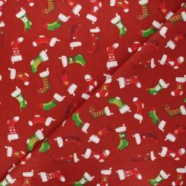 Tissu coton cretonne Socks - rouge foncé x 10cm
