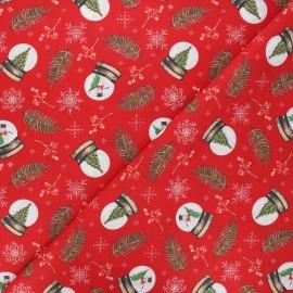 Tissu coton cretonne Snowglobe - rouge x 10cm