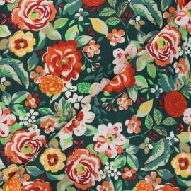 Tissu coton cretonne Colette - vert foncé x 10cm