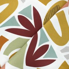 Tissu coton cretonne Miro - blanc  x 10cm