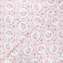 Cretonne cotton fabric - pink Jolly x 10cm