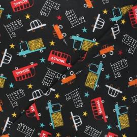 Tissu coton cretonne Schoolbus - noir x 10cm
