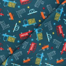 Tissu coton cretonne Schoolbus - bleu pétrole x 10cm