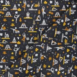 Tissu coton cretonne Fitness - gris anthracite x 10cm