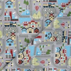Tissu coton cretonne Tchoutchou - gris x 10cm
