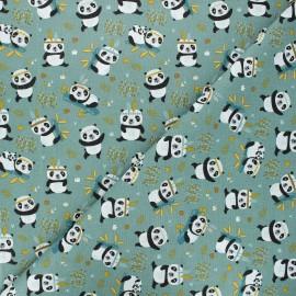 Tissu coton cretonne Sichuan - vert x 10cm