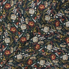 Tissu coton cretonne Adony - bleu nuit x 10cm