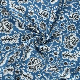 Tissu popeline de coton Romana - bleu x 10cm