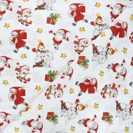 Tissu coton cretonne Nicolas - blanc x 10cm