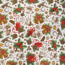 Tissu coton cretonne Bells - blanc x 10cm