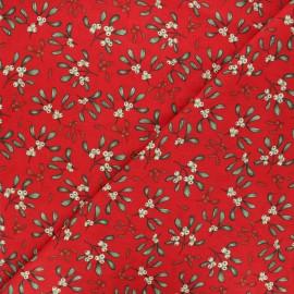 Tissu coton cretonne Gui - rouge x 10cm