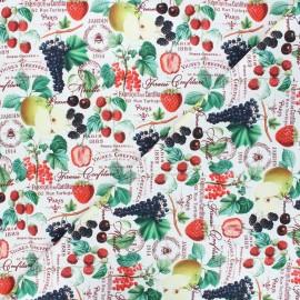 Tissu coton Confiture de fruits - blanc x 10cm