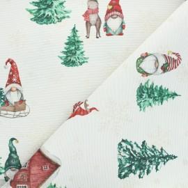 Tissu jacquard lurex Santa gnome - naturel x 10cm