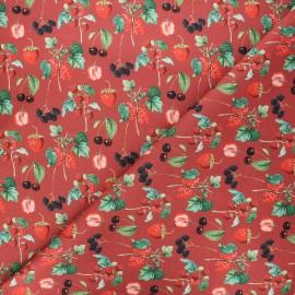 Tissu coton Fruits des bois - rouge x 10cm