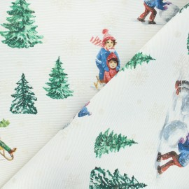 Lurex jacquard fabric - natural Snow and fun x 10cm