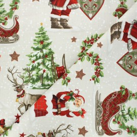 Tissu toile de coton aspect lin Traineau - naturel x 10 cm