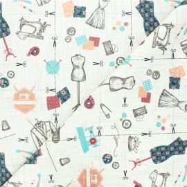 Cotton fabric - raw Tailleur x 10cm