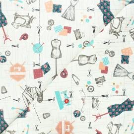 Tissu coton Tailleur - écru x 10cm