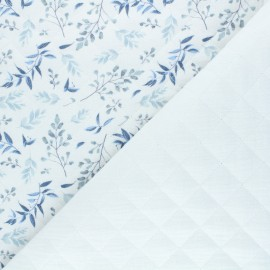 Quilted double gauze cotton fabric - white Foliage x 10cm