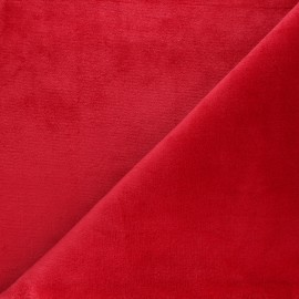 Tissu Doudou ultra doux - rouge x 10cm