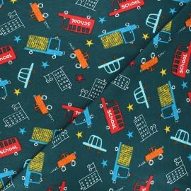 Tissu jersey Schoolbus - bleu pétrole x 10cm