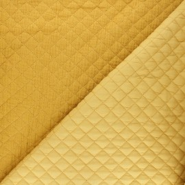 Quilted double gauze cotton fabric - mustard yellow Kami mini x 10cm