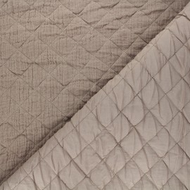 Quilted double gauze cotton fabric - taupe Kami maxi x 10cm