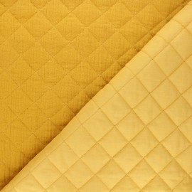 Quilted double gauze cotton fabric - mustard yellow Kami maxi x 10cm