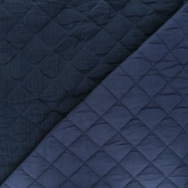 Quilted double gauze cotton fabric - navy blue Kami maxi x 10cm