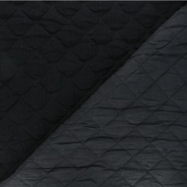 Quilted double gauze cotton fabric - black Kami maxi x 10cm