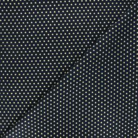 Cotton fabric - navy blue Golden stars x 10cm