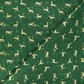 Tissu coton Golden reindeers - vert x 10cm
