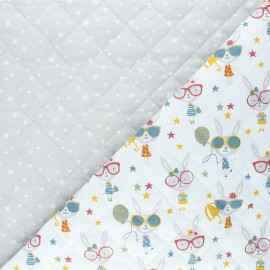 Quilted cotton fabric - white Lucette/Atria x 10cm