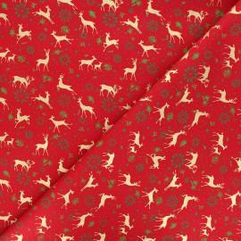 Tissu coton Golden reindeers - rouge x 10cm
