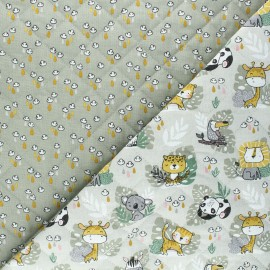 Quilted cotton fabric - grey green Savana/Mousson x 10cm