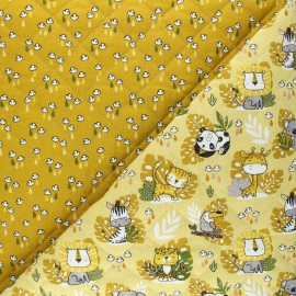 Quilted cotton fabric - yellow Savana/Mousson x 10cm