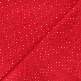 Cotton fabric - red Golden dots x 10cm