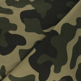 French terry fabric - green Army x 10cm