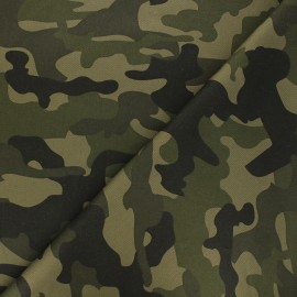 Stitched gabardine fabric - green Camouflage x 10cm