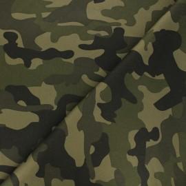 Tissu gabardine piqué Camouflage - vert x 10cm