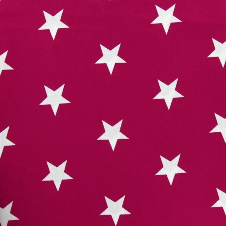 Tissu Grandes étoiles pourpre x 10cm